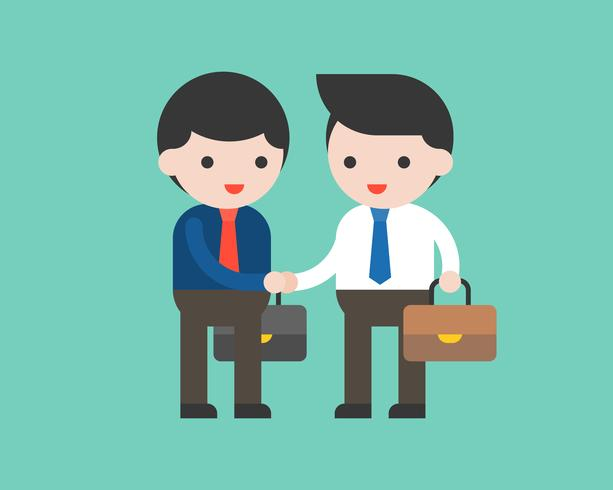 Homme d'affaires deux serrer la main, concept de réunion d'affaires design plat