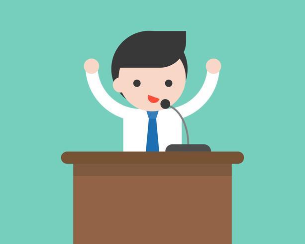 Affärsman eller politiker talar på podiet med mikrofon