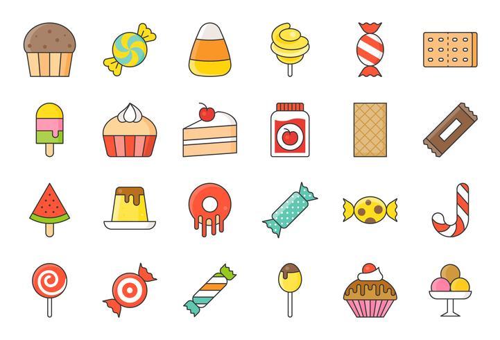 Bonbons et bonbons jeu d'icônes 2/2 style de contour rempli