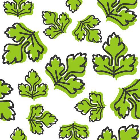 vegetable seamless pattern, coriander or celery leaf outline vector