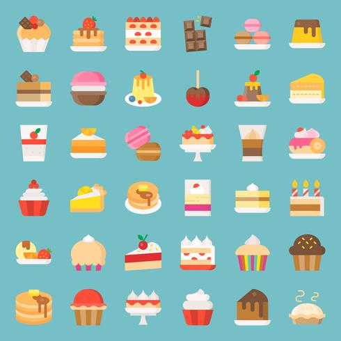 Sweets and dessert icon set, flat style vector