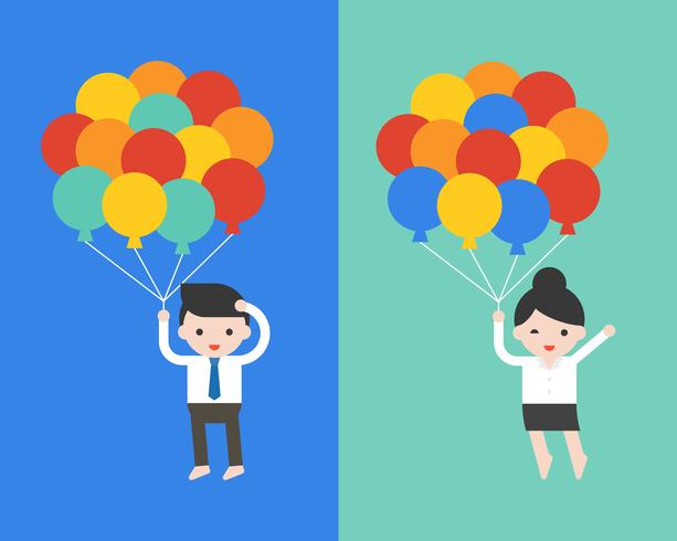 Cute businessman and woman holding balloons, vector illustration