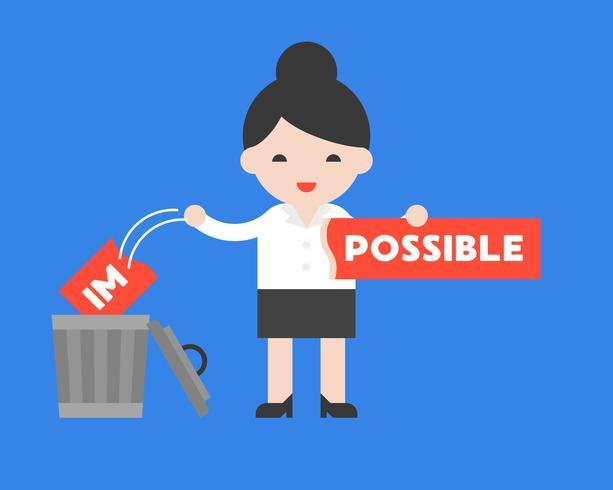 Empresaria cambiar el signo imposible a posible, concepto de motivación vector