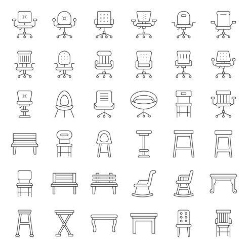 Kruk, stoel, bank en bank, overzichts pictogramreeks