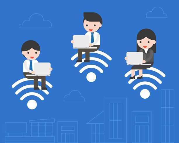 Gente de negocios sentado en el símbolo de wifi y utilizando el trabajo portátil vector