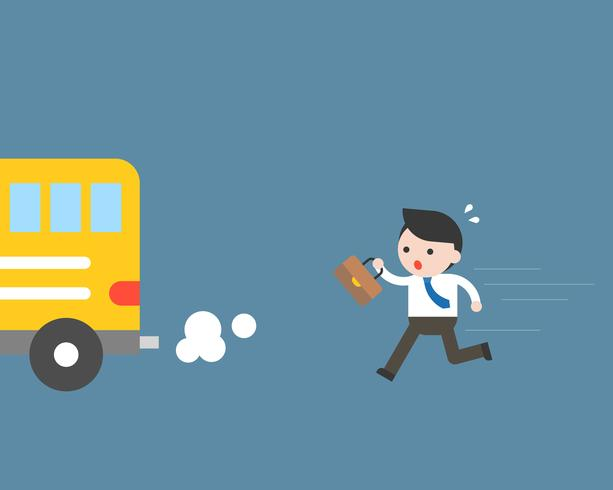 Businessman running to catch bus, but late, business situation