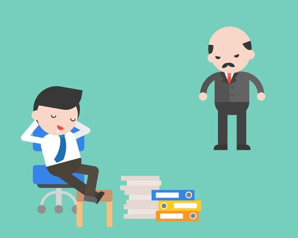 Relâchement de l'homme d'affaires avec le patron en colère, concept d'entreprise