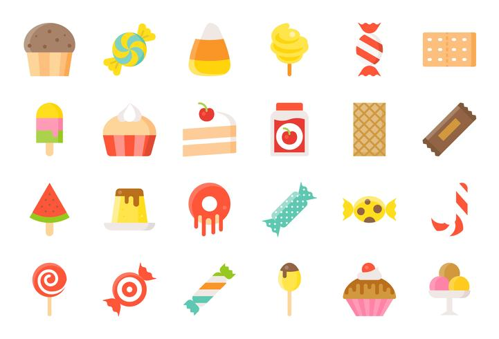 Sweets and candy icon set 2/2 flat style
