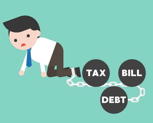 Geschäftsmann angekettet durch Schuld, Rechnung, Steuereisenball, Geldverwaltungsfehlerkonzept