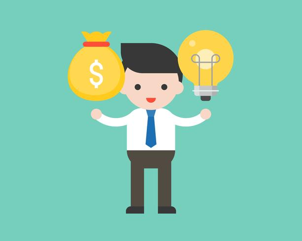 Businessman hold light bulb at left hand and money bag at right hand