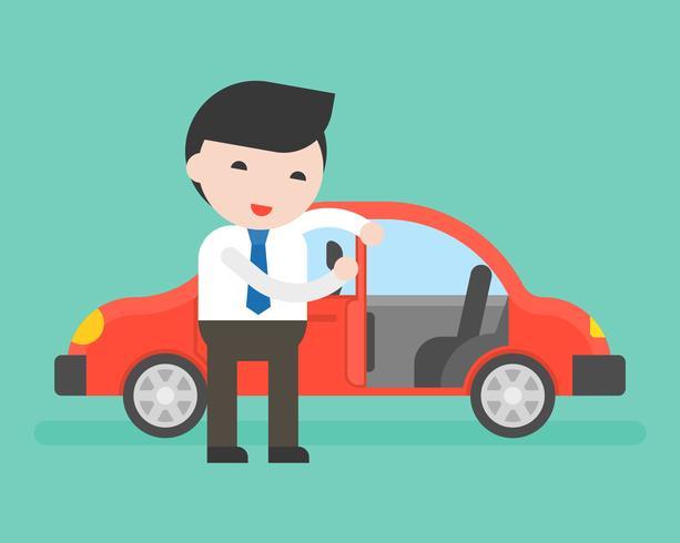 Empresario o vendedor abre la puerta del auto para el cliente vector