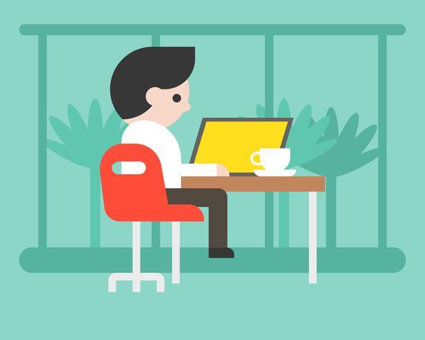 Hombre de negocios que trabaja con la computadora portátil en la cafetería, diseño plano del concepto del espacio de trabajo vector