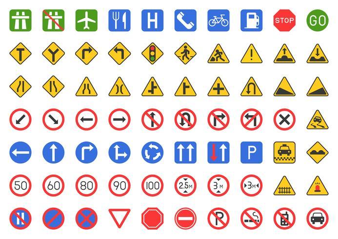 Insieme dell'icona del segnale stradale
