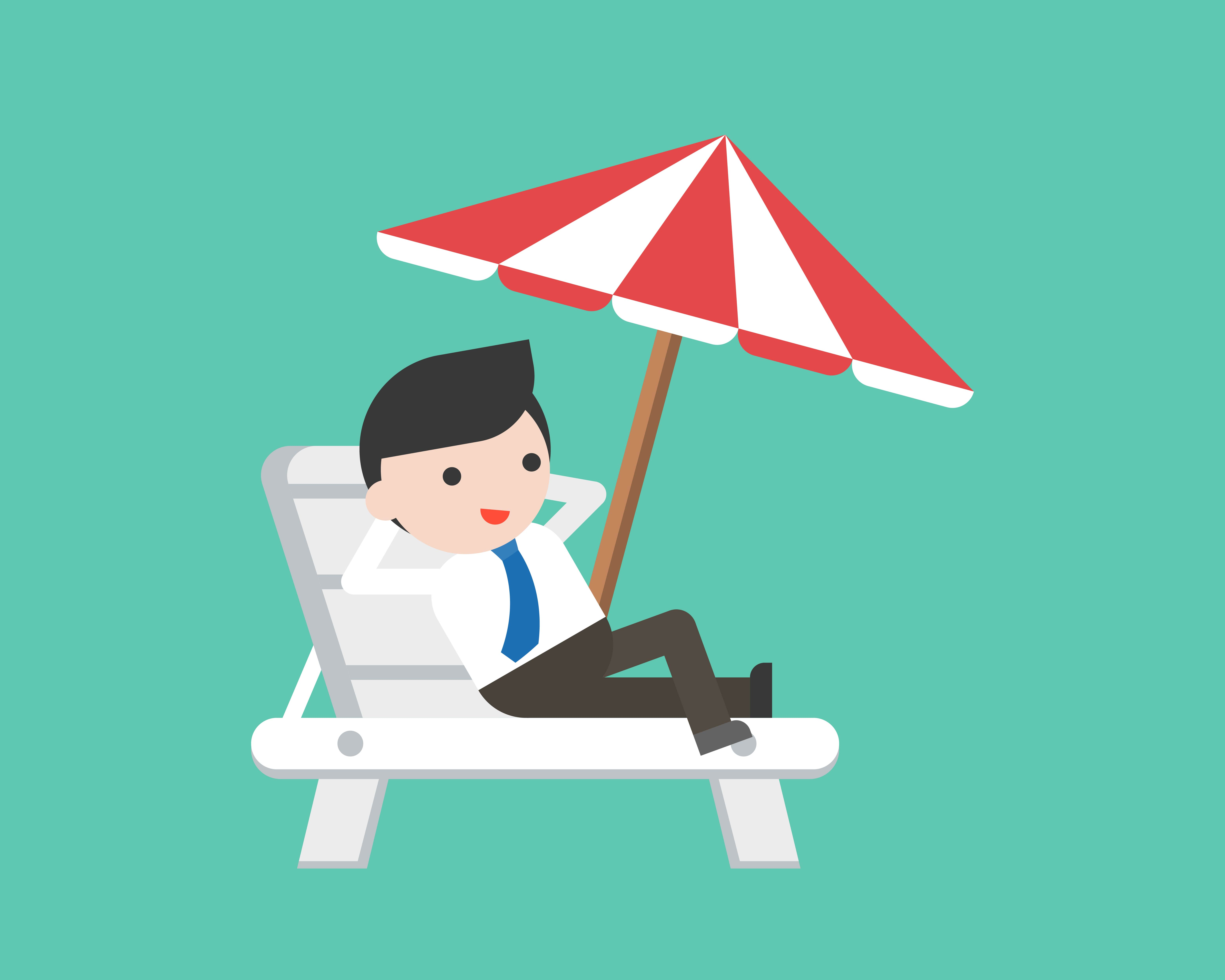 Businessman relaxing on beach chair with umbrella ...