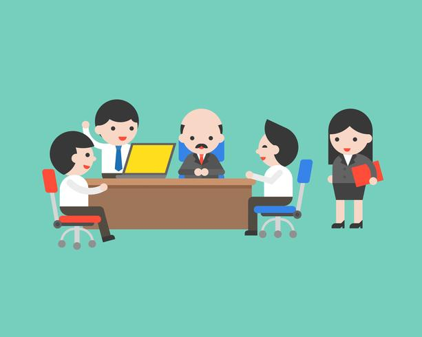 Equipe de empresário bonito reunião conferência com o CEO no escritório
