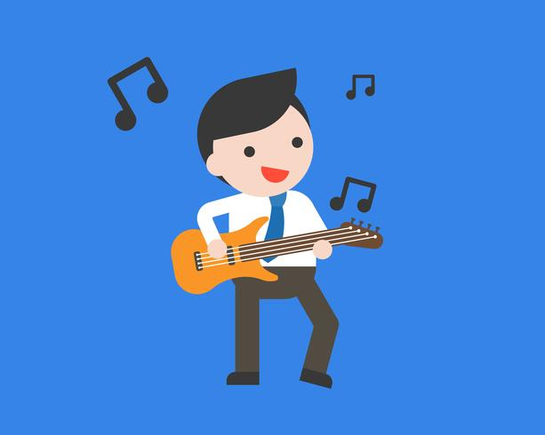 Homme d'affaires, jouer de la guitare, design plat