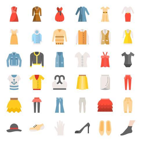 Vrouwelijke kleding, tas, schoenen en accessoires platte pictogrammenset 3