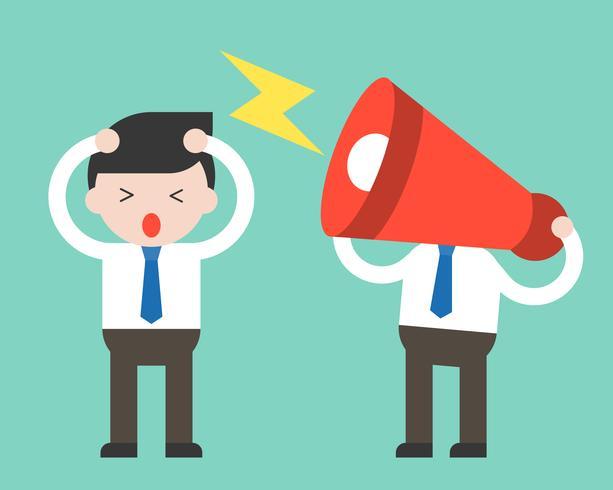 Cabeza de megáfono y hombre de negocios molesto, concepto de compañero de trabajo molesto vector