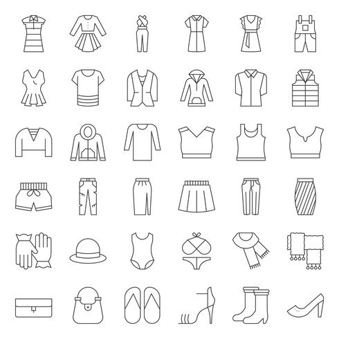 Female clothes, bag, shoes and accessories thin outline icon set 2