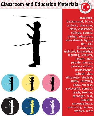 School student, teacher, silhouette, cartoon characters, boy, girl, male, female, teacher, school supplies, stationery – eps, vector