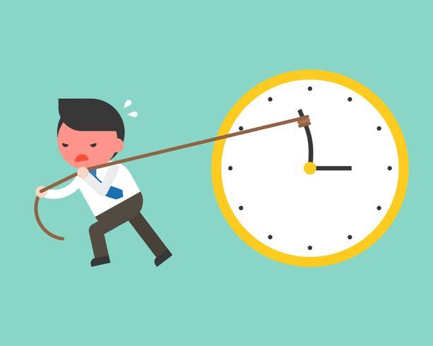 Un hombre de negocios lindo intenta con fuerza tirar de la mano en el sentido contrario a las agujas del reloj mediante una cuerda vector