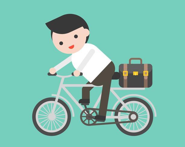 Personenvervoer een fiets met aktentas, vlak ontwerp