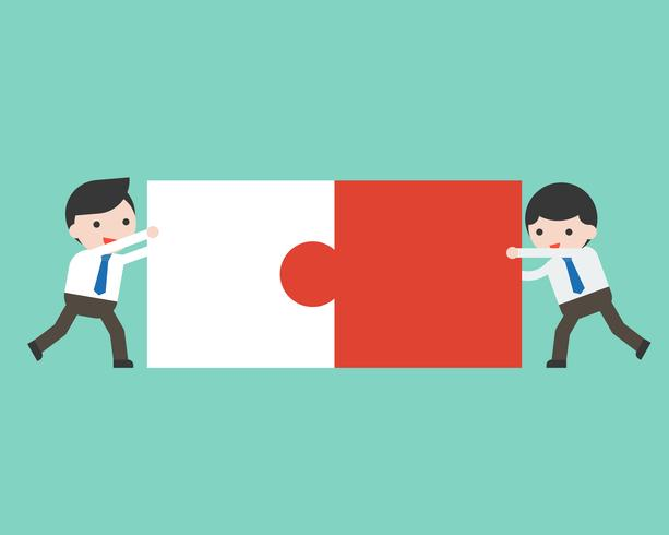 Two businessman connect puzzle pieces, flat design