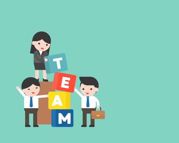 Pessoas negócio, e, gerente, com, equipe, bloco, team building, conceito vetor