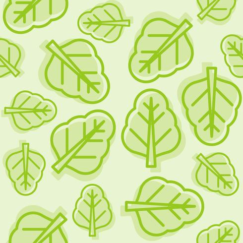 vegetable seamless pattern, Chinese kale or spinach outline  vector
