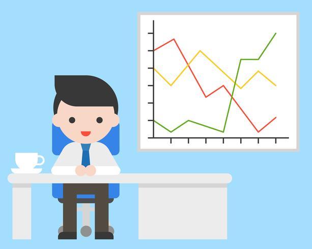 Bedrijfsmens in bureau en rapportgrafiek, over bedrijfssituatieconcept