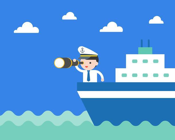Empresario en un crucero con binoculares y sombrero de capitán.