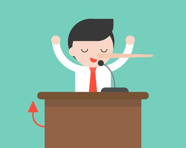 Empresario o político hablando en podio con micrófono