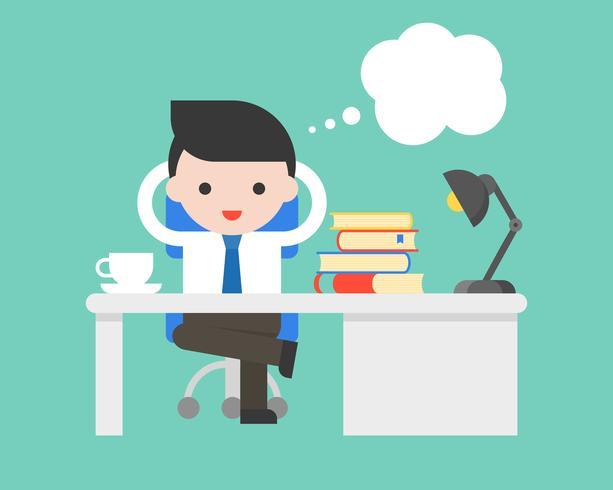 Zakenmanzitting na bureau en toespraakbel, bedrijfssituatiesconcept
