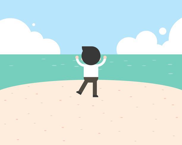 Leuk zakenman op zee strand, reis en vrijheidsconcept