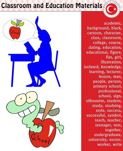 Estudiante de la escuela, profesor, silueta, personajes de dibujos animados, niño, niña, hombre, mujer, profesor, útiles escolares, papelería - eps, vector