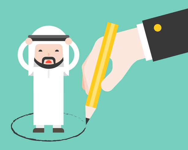 Arab business man trap in circle drawn by other giant business hand
