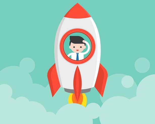 Zakenman in lanceringsraket, startconcept