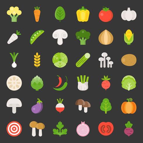 Lindo set de vegetales 1/3, icono de diseño plano