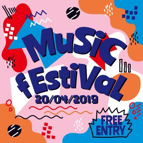 Vettore di progettazione del manifesto di festival di musica