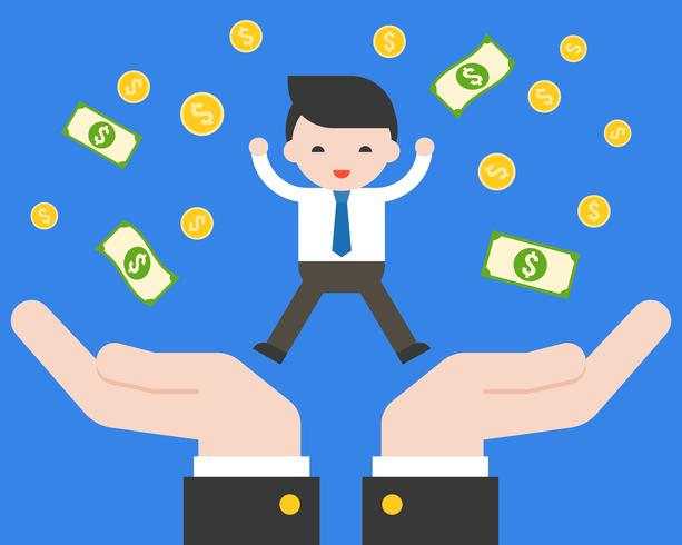 Cute business hand jumping on support hand with dollar banknote and gold coins