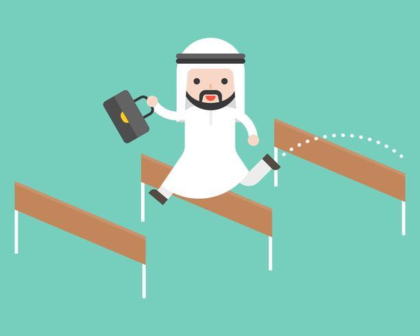 Arab business man jump over hurdle, flat design