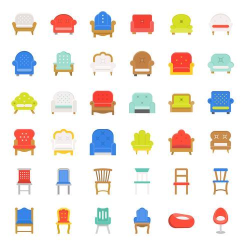 Sofá y silla, conjunto de iconos de diseño plano