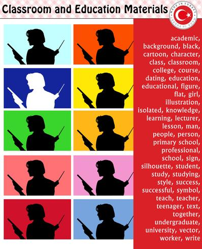 School student, teacher, silhouette, cartoon characters, boy, girl, male, female, teacher, school supplies, stationery – eps, vector