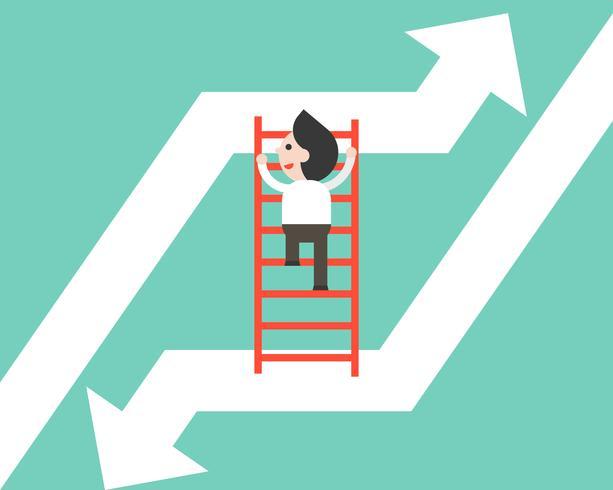 Zakenman die ladder beklimt die zich van dalende pijl aan stijgende omhooggaande pijl beweegt