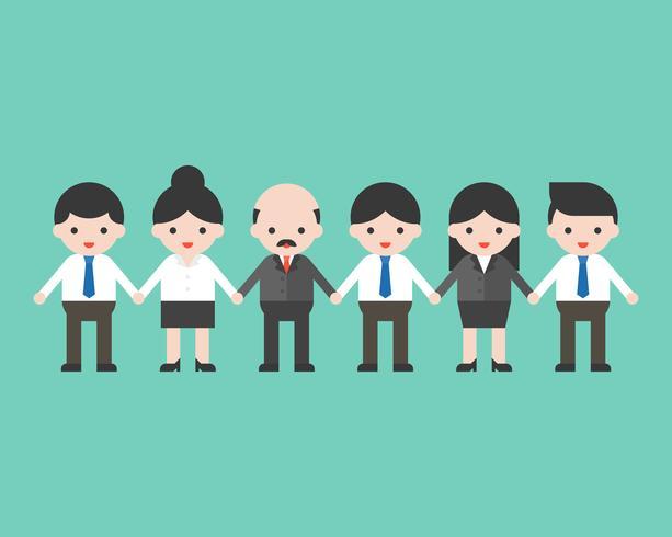Anställda och arbetsgivare som håller händerna, affärsgruppkoncept