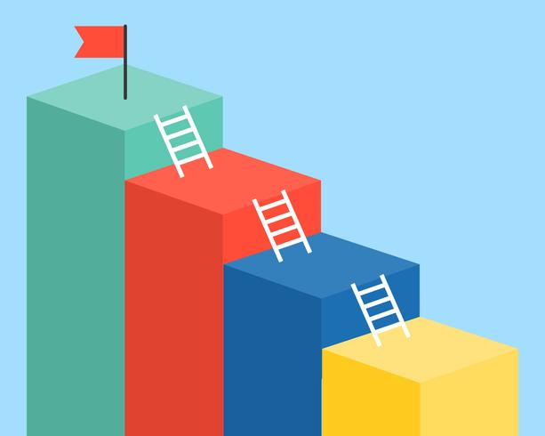 Bar chart and ladder with red flag for use as template or