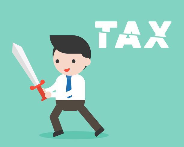 Het zwaard van het zakenmangebruik zwaard sneed belastingalfabet, het concept van de kostenvermindering