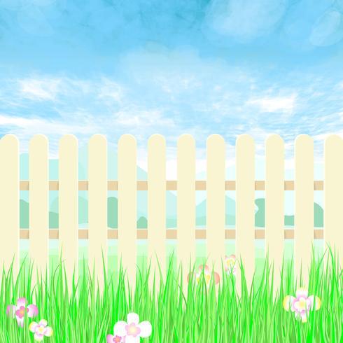 Tuinieren hek een achtertuin met blauwe hemel. vector