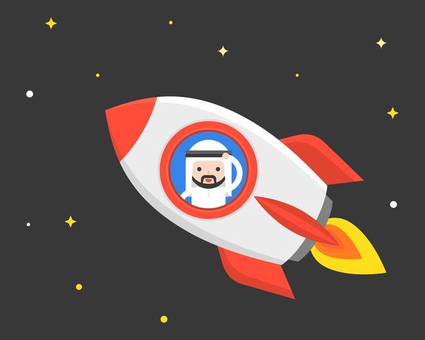 Leuke Arabische zakenman in vliegende raket bij nachtscène