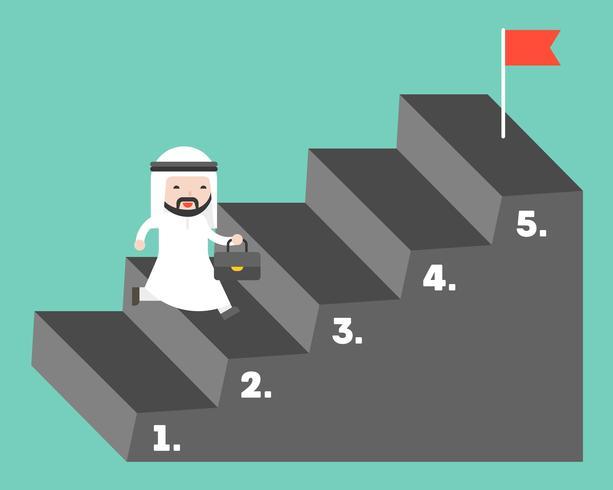 Cute Arab businessman climbing up step to reach goal vector